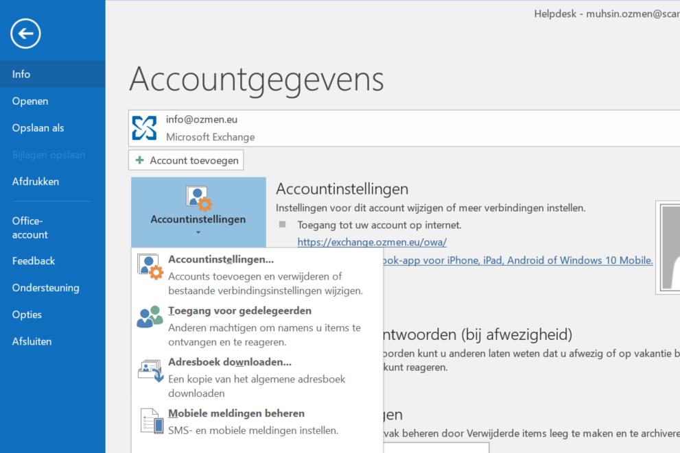 Accountinstellingen